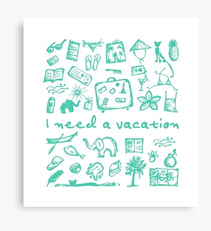 Summer vacations seamless pattern Canvas Print