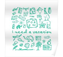 Summer vacations seamless pattern Poster