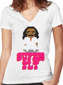 Super Fly -Pixels Women's Fitted V-Neck T-Shirt