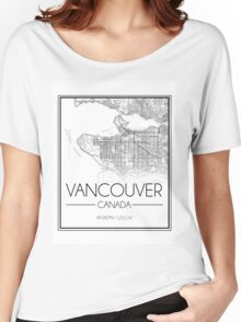 Vancouver, BC City Map- Black Women's Relaxed Fit T-Shirt