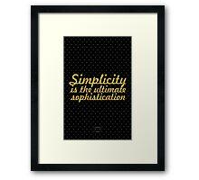 "Simlycity is the... ""Leonardo Da Vinchi"" Inspirational Quote Framed Print"