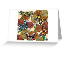 Flowers and Butterflies Pattern Greeting Card