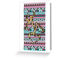 Deer Head Heart Aztec Greeting Card