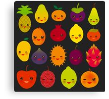 Happy Fruits on black Canvas Print