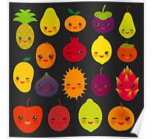 Happy Fruits on black Poster