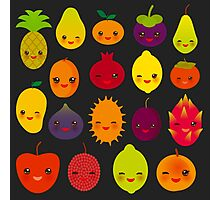 Happy Fruits on black Photographic Print