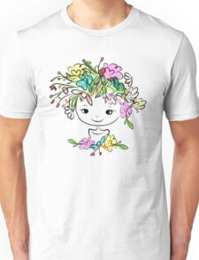 Female portrait with floral hairstyle Unisex T-Shirt