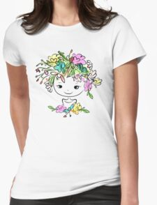 Female portrait with floral hairstyle Womens Fitted T-Shirt