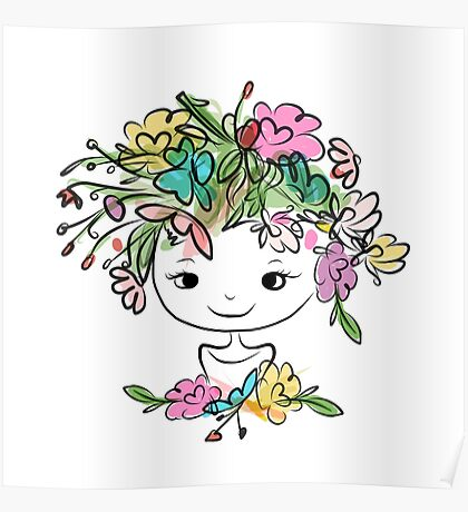 Female portrait with floral hairstyle Poster