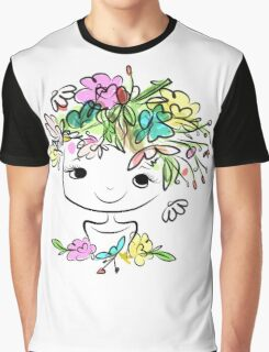 Female portrait with floral hairstyle Graphic T-Shirt