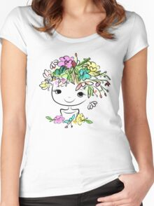 Female portrait with floral hairstyle Women's Fitted Scoop T-Shirt