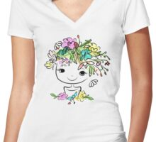 Female portrait with floral hairstyle Women's Fitted V-Neck T-Shirt