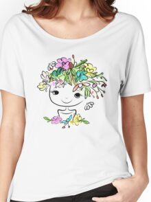 Female portrait with floral hairstyle Women's Relaxed Fit T-Shirt