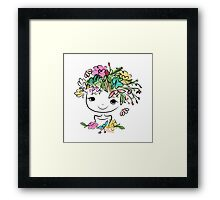 Female portrait with floral hairstyle Framed Print