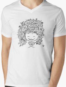 girl smiling Mens V-Neck T-Shirt