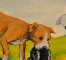 Careless Pit Bulls Dogs!~~Whimsical~Love~Dog Sticker