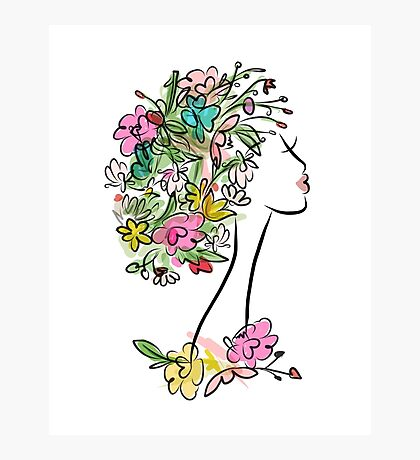 Female profile with floral hairstyle Photographic Print