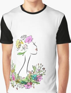 Female profile with floral hairstyle Graphic T-Shirt