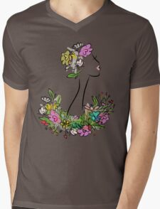 Female profile with floral hairstyle Mens V-Neck T-Shirt
