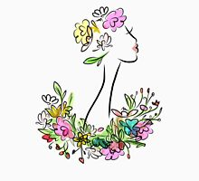 Female profile with floral hairstyle Women's Fitted Scoop T-Shirt