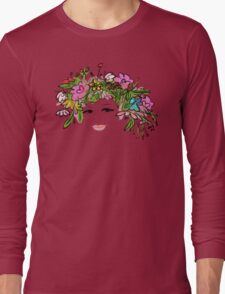 Female profile with floral hairstyle Long Sleeve T-Shirt