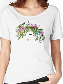 Female profile with floral hairstyle Women's Relaxed Fit T-Shirt