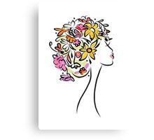 Female profile with floral hairstyle Canvas Print