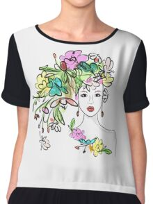 Female profile with floral hairstyle Chiffon Top