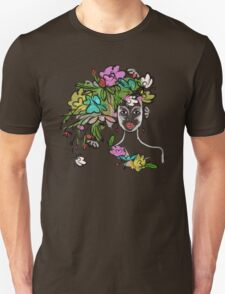 Female profile with floral hairstyle Unisex T-Shirt