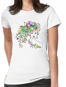 Female profile with floral hairstyle Womens Fitted T-Shirt