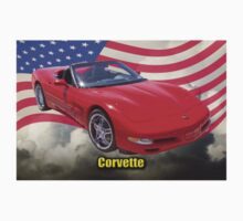 Red C5 Corvette Convertible And American Flag Kids Clothes