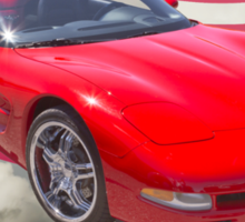 Red C5 Corvette Convertible And American Flag Sticker