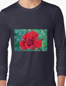Red rose on a green background. Long Sleeve T-Shirt
