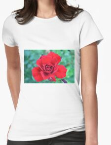 Red rose on a green background. Womens Fitted T-Shirt