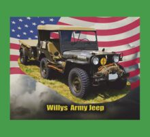 Willys World War Two Army Jeep and American Flag Kids Clothes