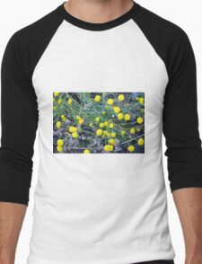 Yellow flowers background Men's Baseball ¾ T-Shirt