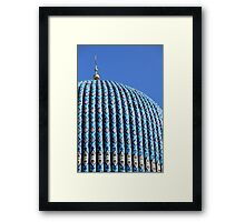Tiled dome of a mosque with a golden crescent  Framed Print
