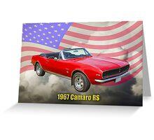 1967 Convertible Red Camaro And US Flag Greeting Card