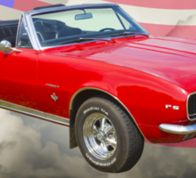 1967 Convertible Red Camaro And US Flag Sticker
