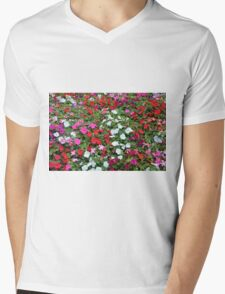 Colorful flowers pattern. Mens V-Neck T-Shirt