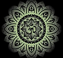 Yoga Mandala Henna Ornate Ohm Sage Green by Carolina Swagger
