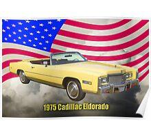 1975 Cadillac Eldorado Convertible And US Flag Poster