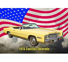 1975 Cadillac Eldorado Convertible And US Flag Photographic Print