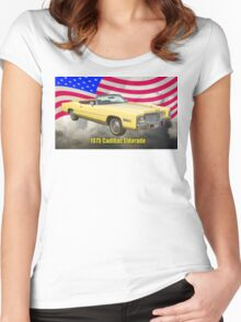 1975 Cadillac Eldorado Convertible And US Flag Women's Fitted Scoop T-Shirt