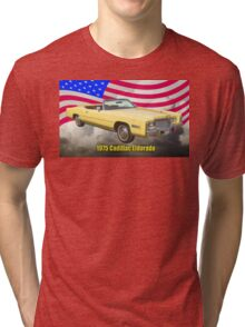 1975 Cadillac Eldorado Convertible And US Flag Tri-blend T-Shirt