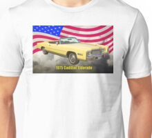 1975 Cadillac Eldorado Convertible And US Flag Unisex T-Shirt