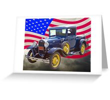 1930 Model A Ford Pickup And American Flag Greeting Card