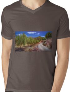Tree lined path to the mountain Mens V-Neck T-Shirt