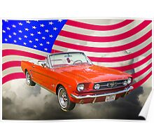 1965 Red Ford Mustang And American Flag Poster