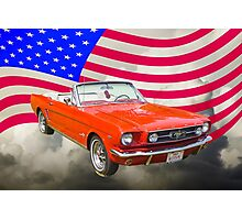 1965 Red Ford Mustang And American Flag Photographic Print